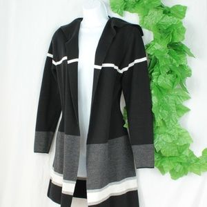 Sweaters - Duster Cardigan Black/White/Gray Cozy Sweater Smal